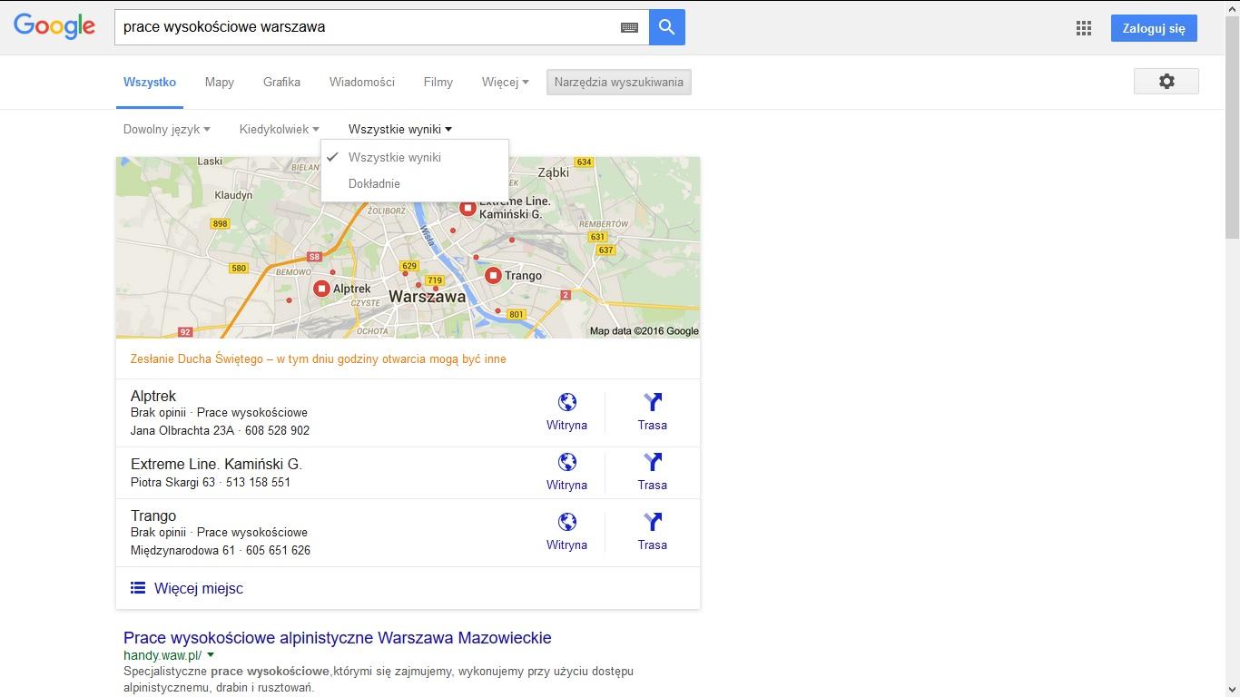 Prace wysokościowe w google
